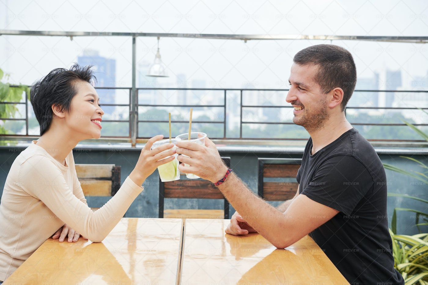 Young Couple Have A Dating In Cafe: Stock Photos