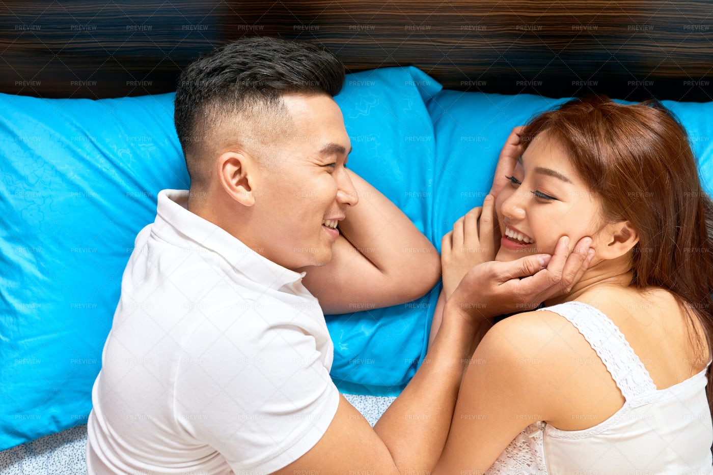 Couple In Love In Bed: Stock Photos