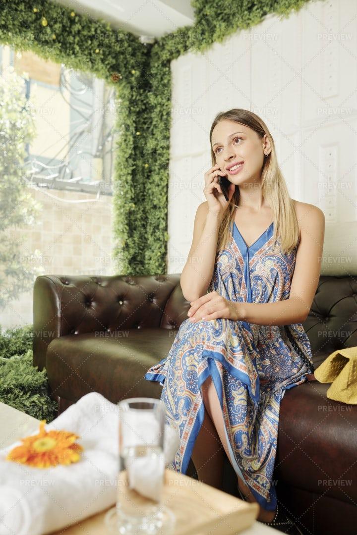 Pretty Woman Waiting In Spa Salon: Stock Photos