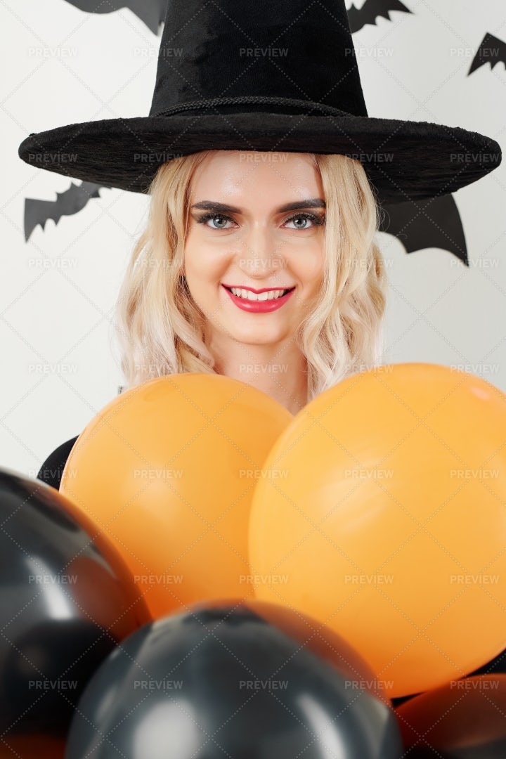 Woman In Witch Costume Posing With: Stock Photos