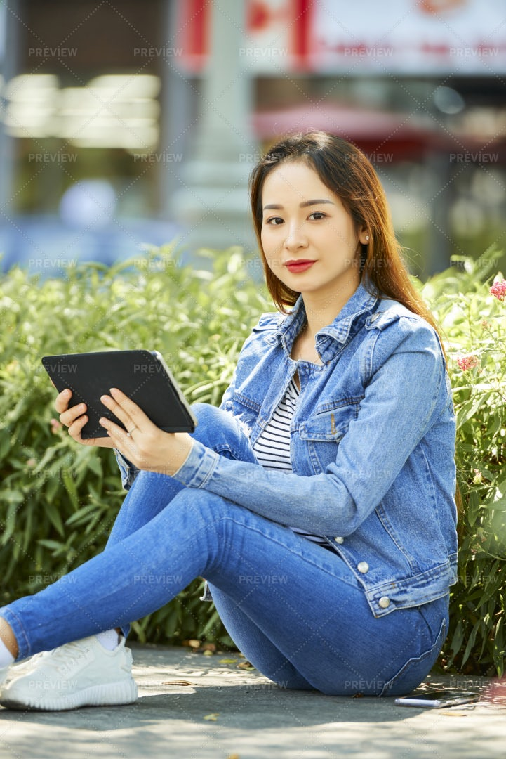 Lovely Woman With Digital Tablet: Stock Photos