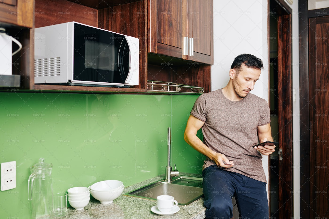 Man Ordering Food Delivery: Stock Photos