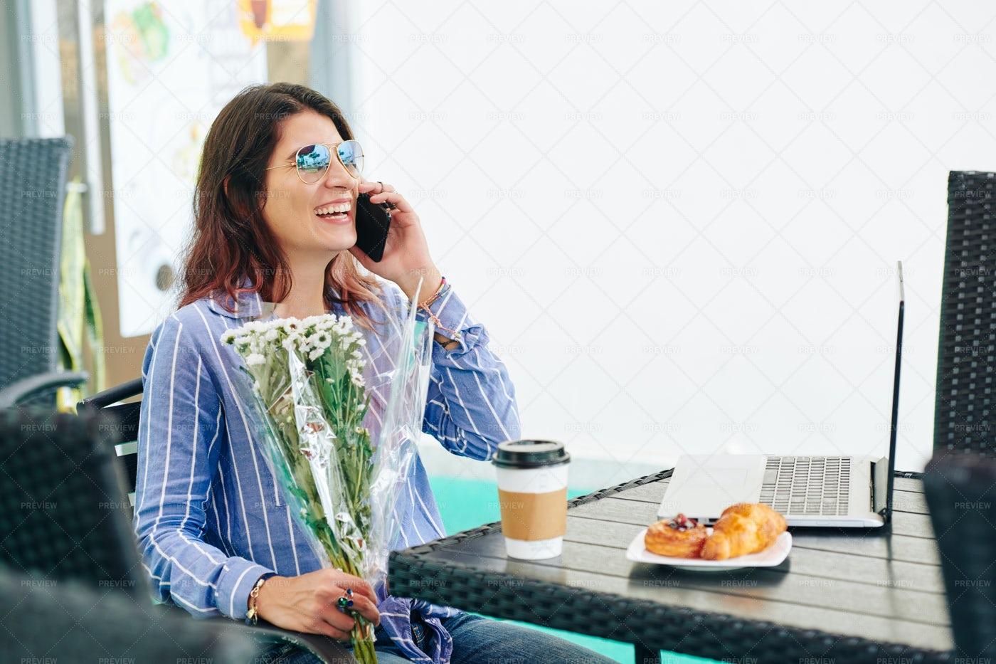 Happy Woman Talking On Phone: Stock Photos