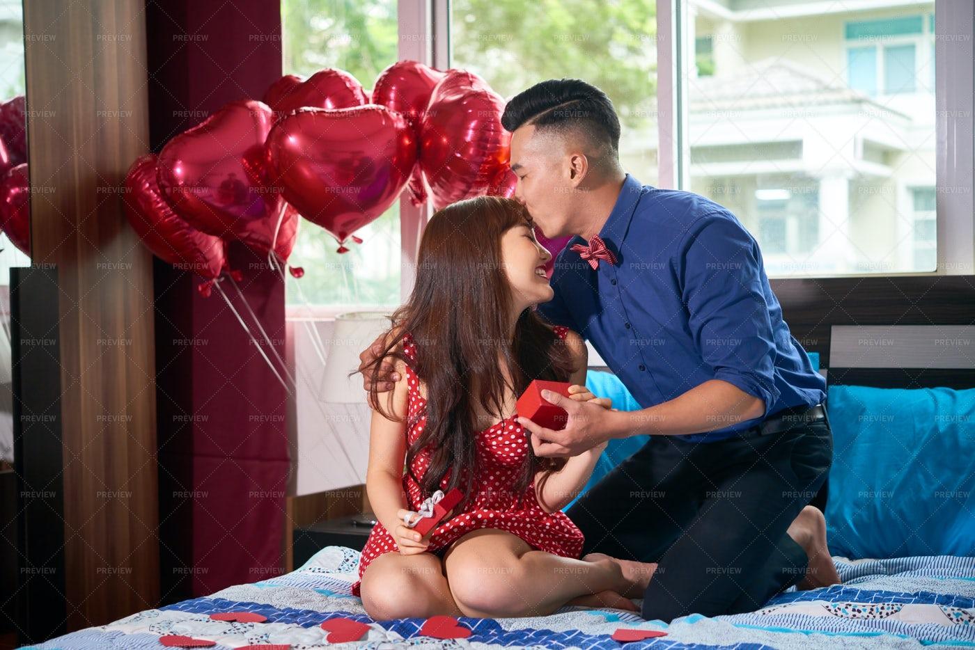 Lovele Couple Celebrating Their: Stock Photos