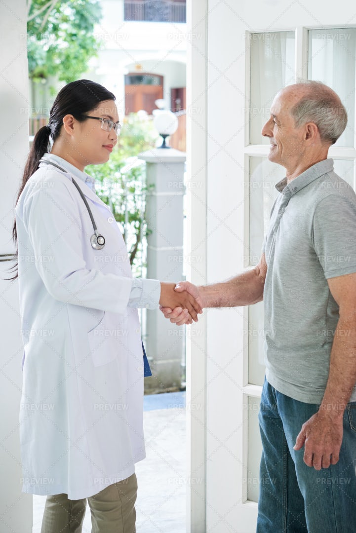 Visit Of Care Worker: Stock Photos