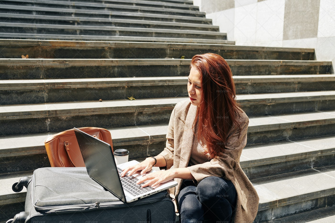 Woman Sitting On Steps With Laptop: Stock Photos