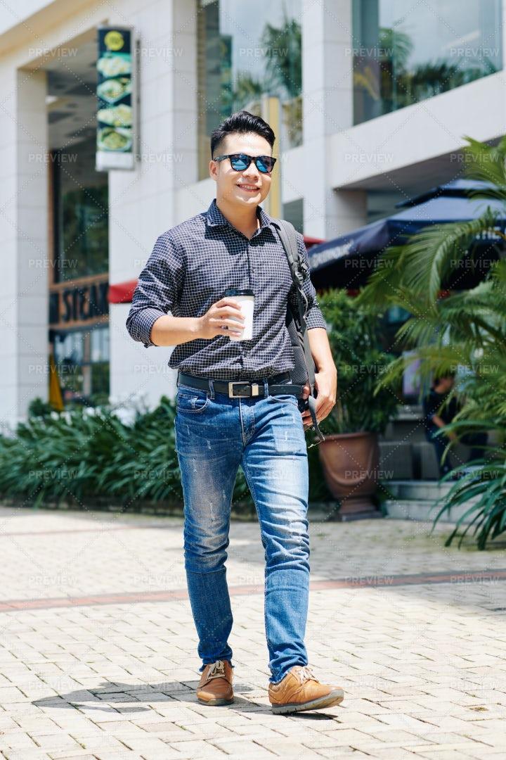 Happy Man Walking In The Street: Stock Photos