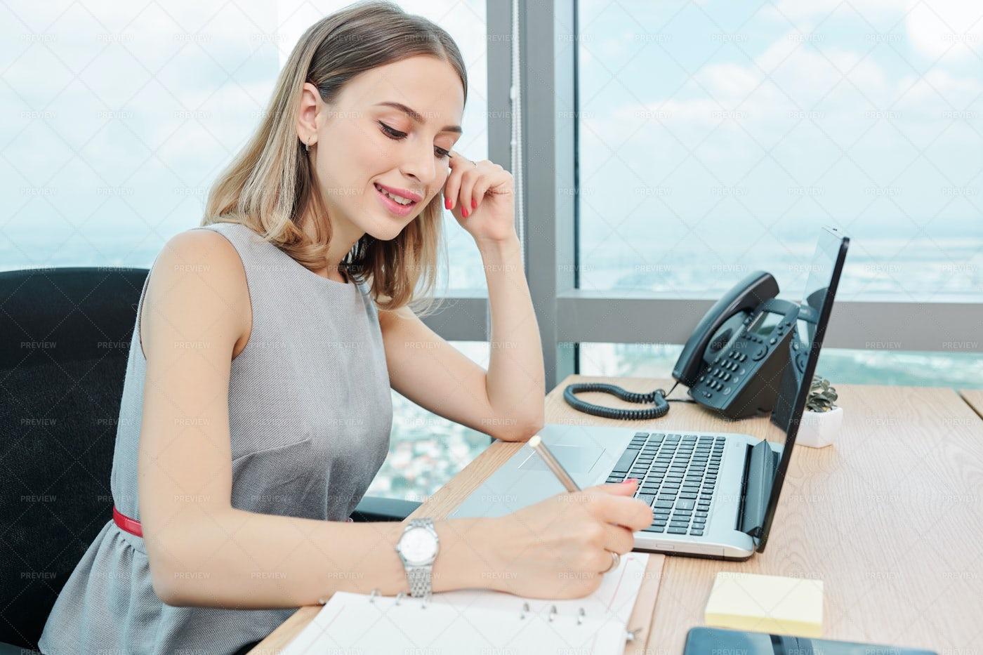 Pretty Woman Writing Down Creative: Stock Photos