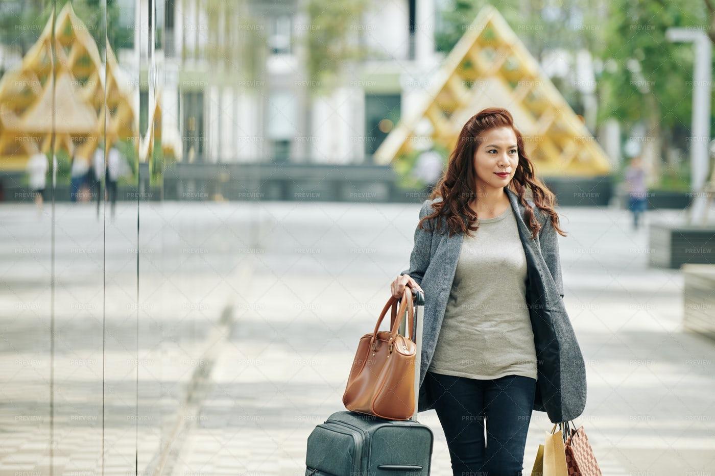 Vietnamese Woman Hurrying To Airport: Stock Photos