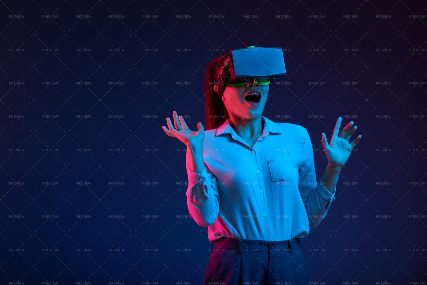Excited With Virtual Reality: Stock Photos