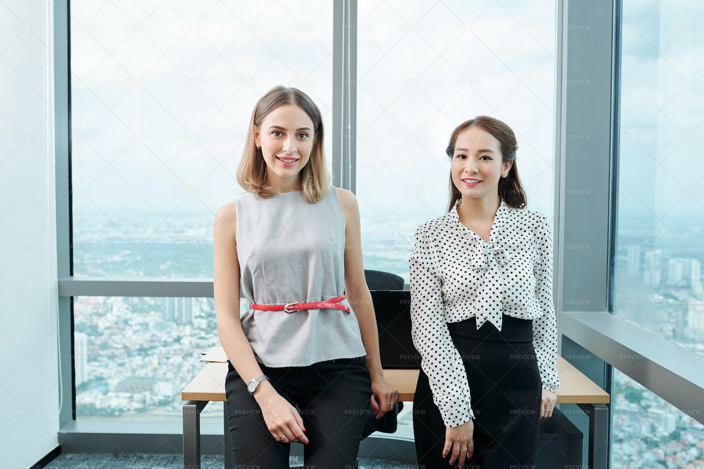 Pretty Female Coworkers: Stock Photos