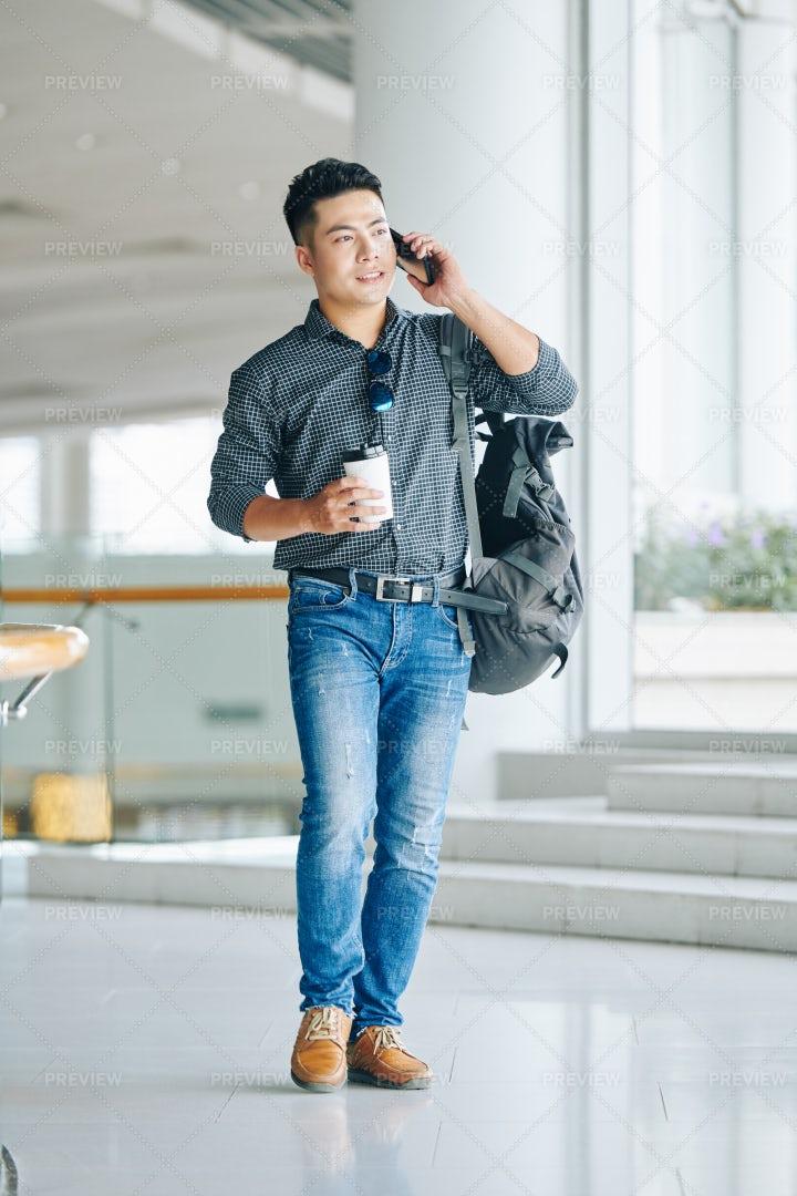 Man Walking In Airport Terminal: Stock Photos