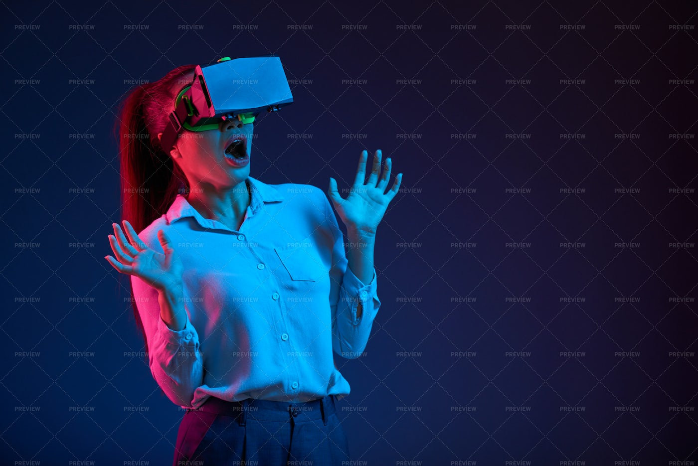 Shocked Woman In Vr Goggles: Stock Photos