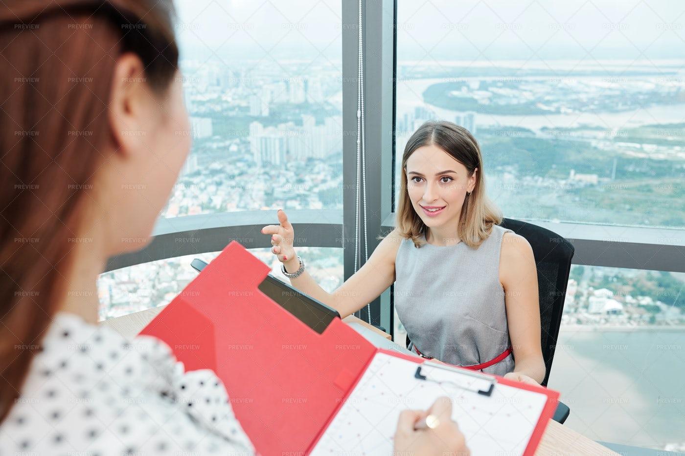 Entrepreneur Giving Orders To Secretary: Stock Photos