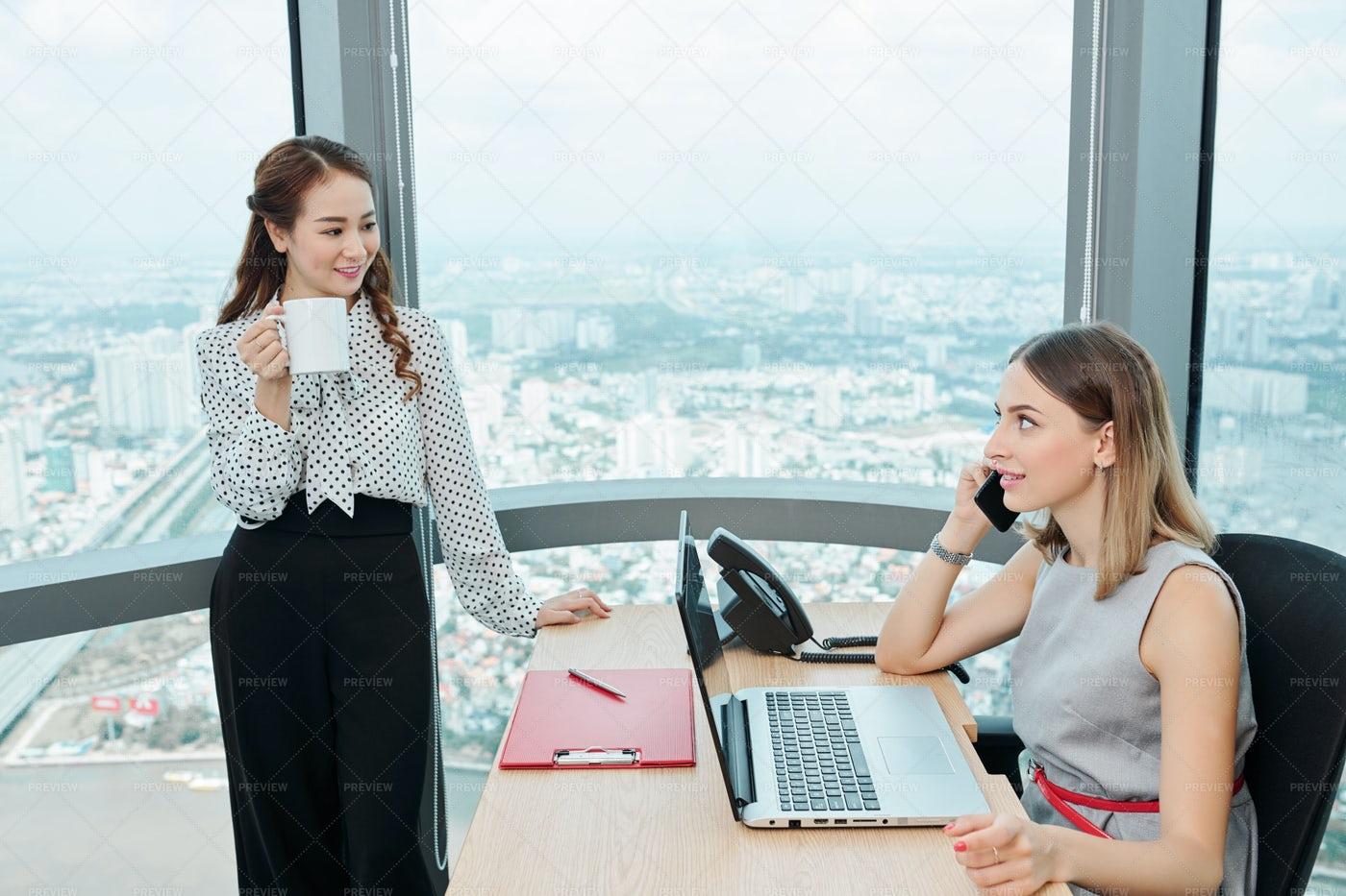 Businesswomen Working In Office: Stock Photos