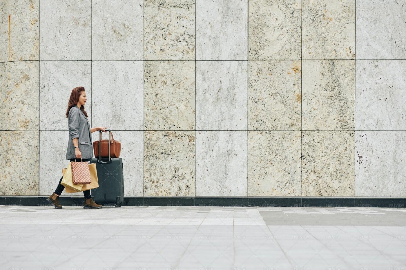 Woman Hurrying To Terminal: Stock Photos