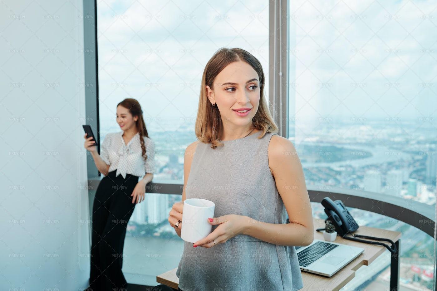 Business Lady With Mug Of Coffee: Stock Photos