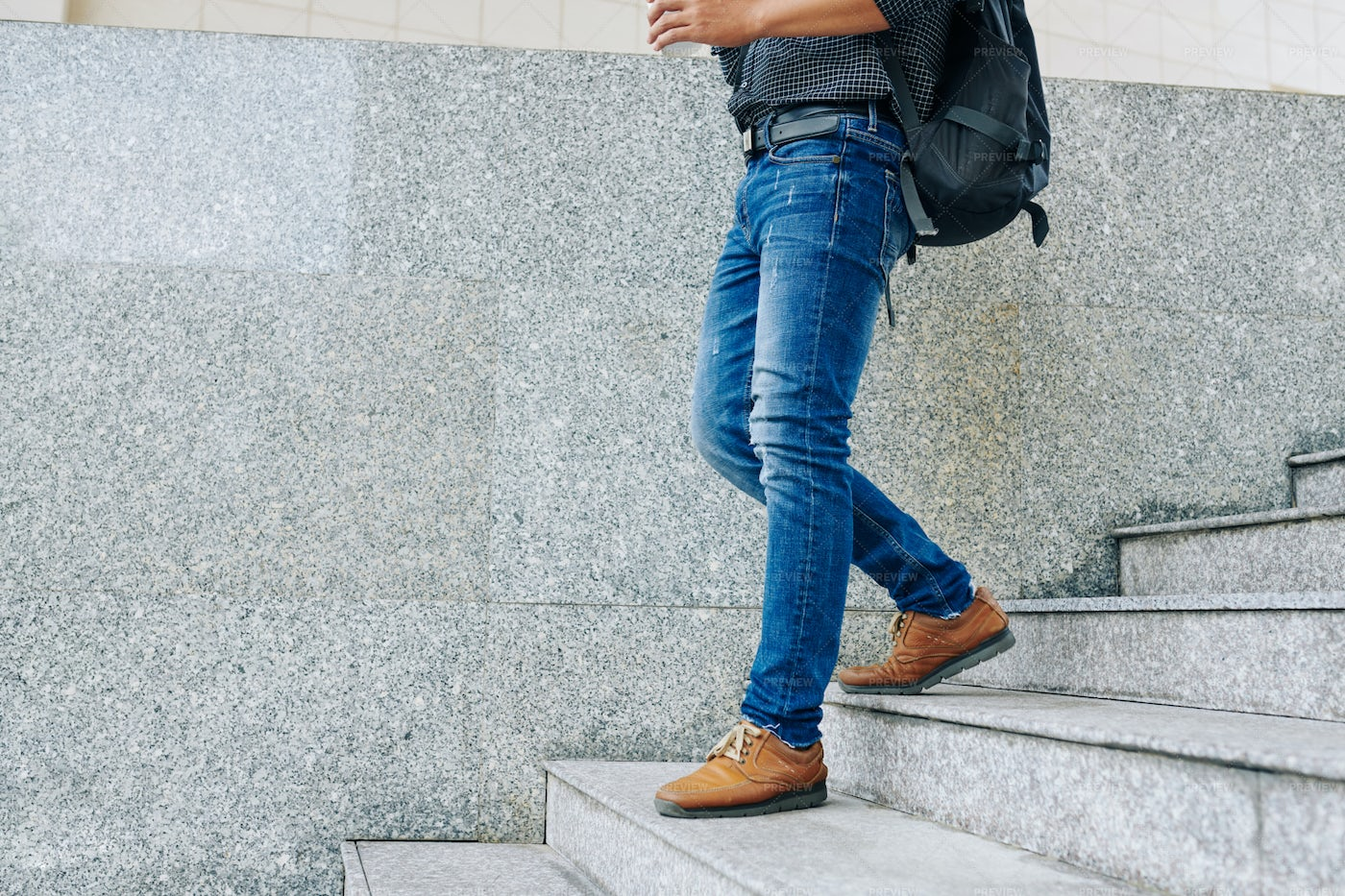 Man Walking Down The Stairs: Stock Photos