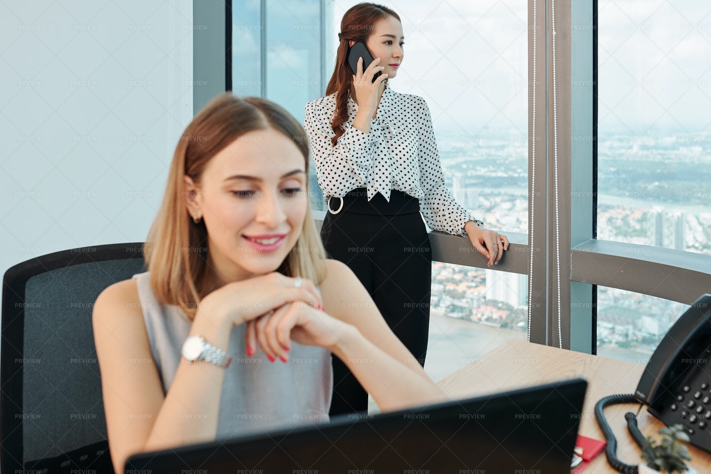 Pesive Businesswoman Talking On Phone: Stock Photos