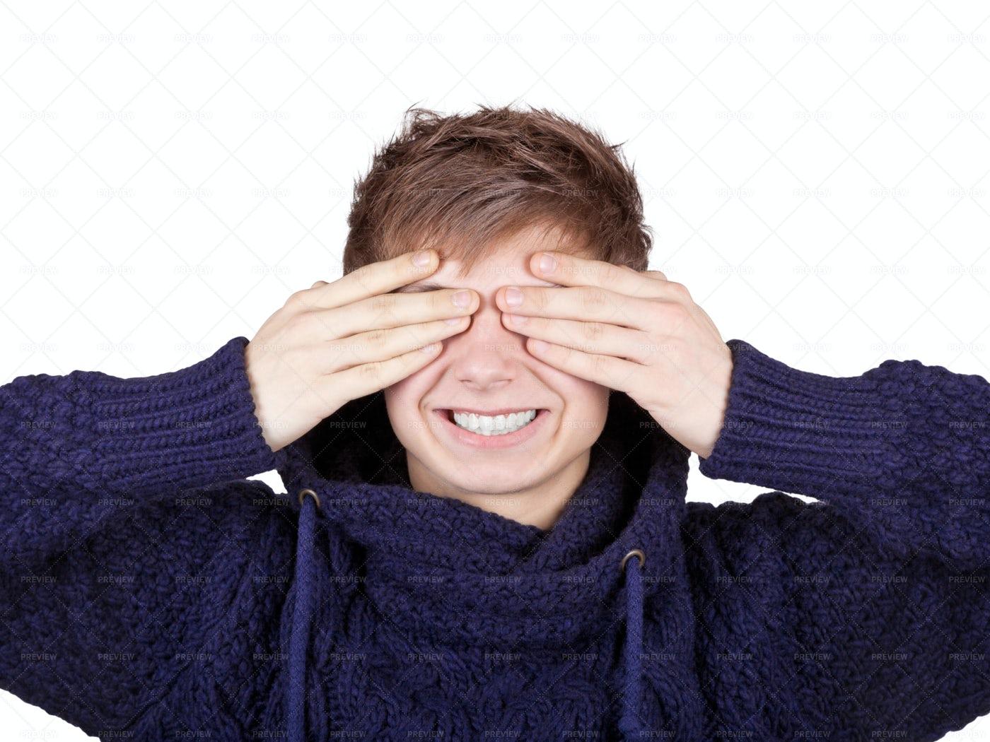 Boy Covering His Eyes: Stock Photos