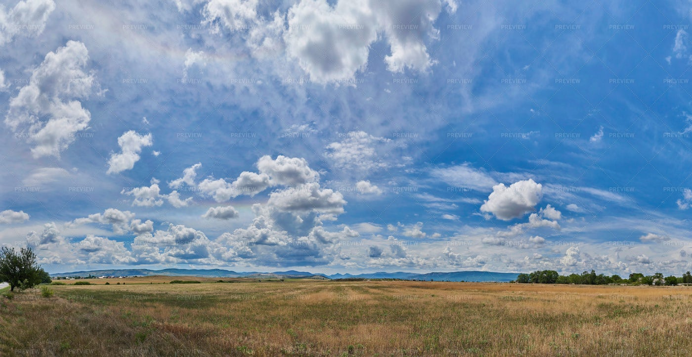 Clouds Over A Field: Stock Photos