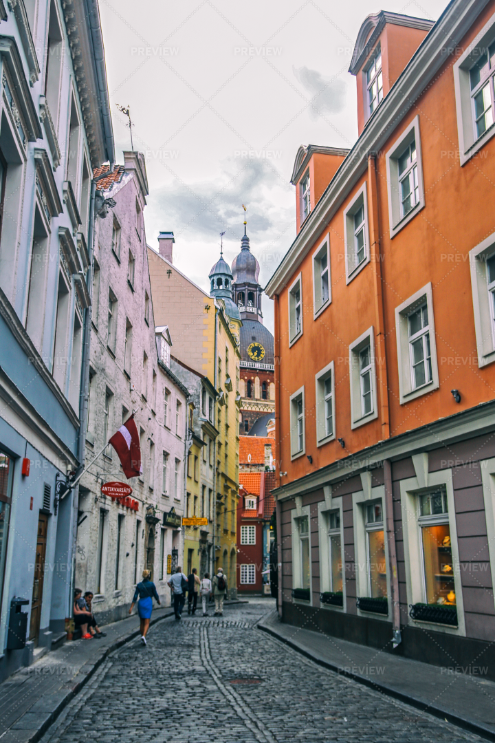 Colorful Streets Of Riga: Stock Photos
