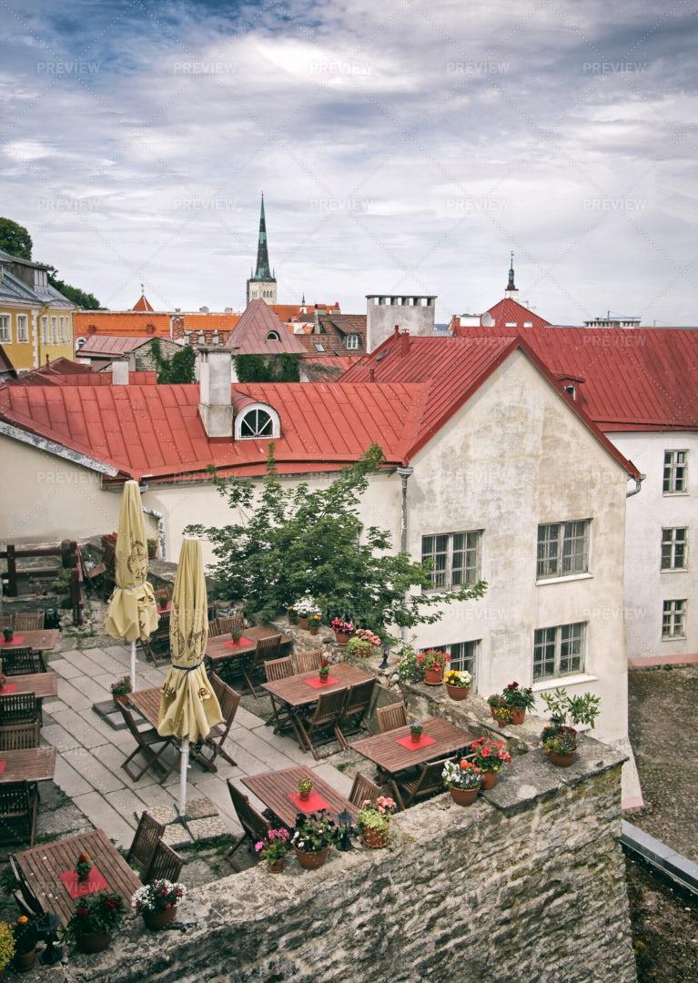 Rooftop Terrace On Tallinn: Stock Photos