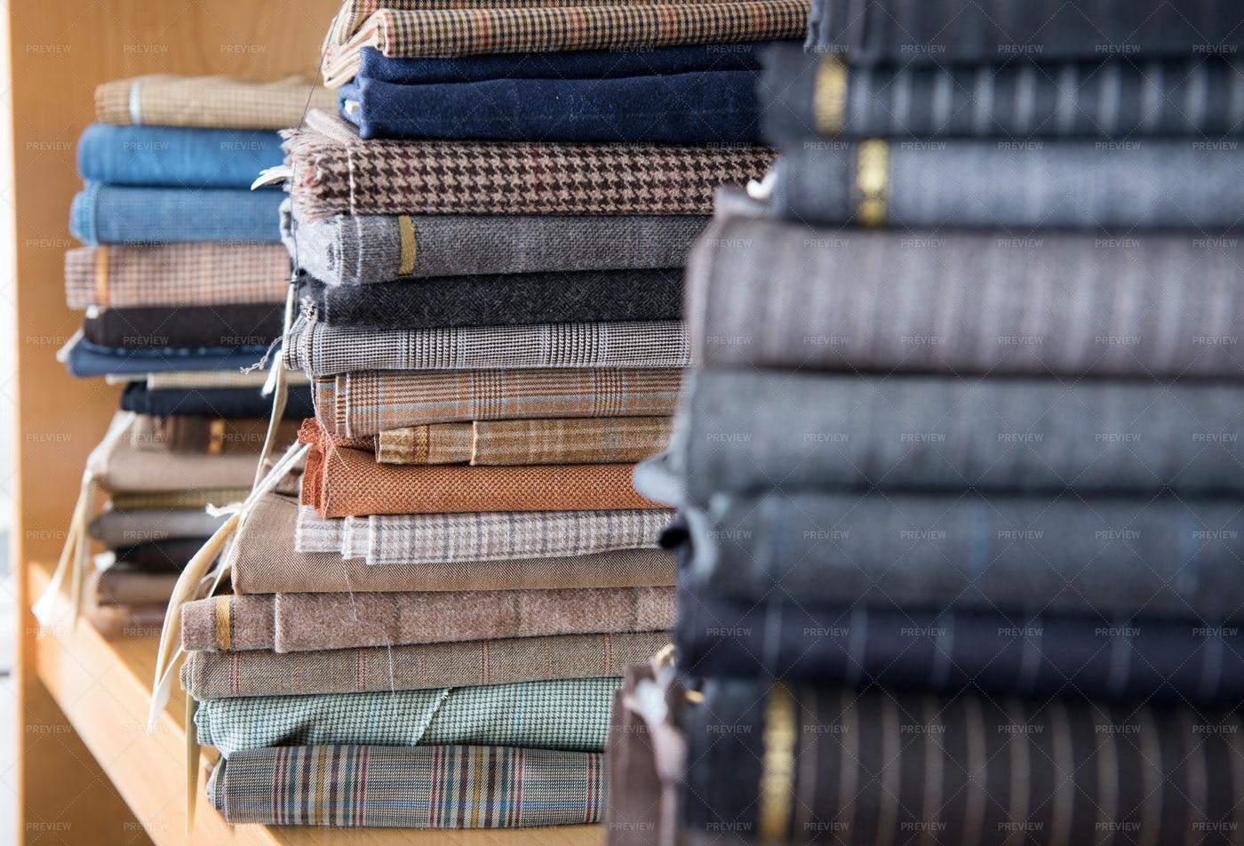 Stacks Of Fabrics On A Shelf: Stock Photos