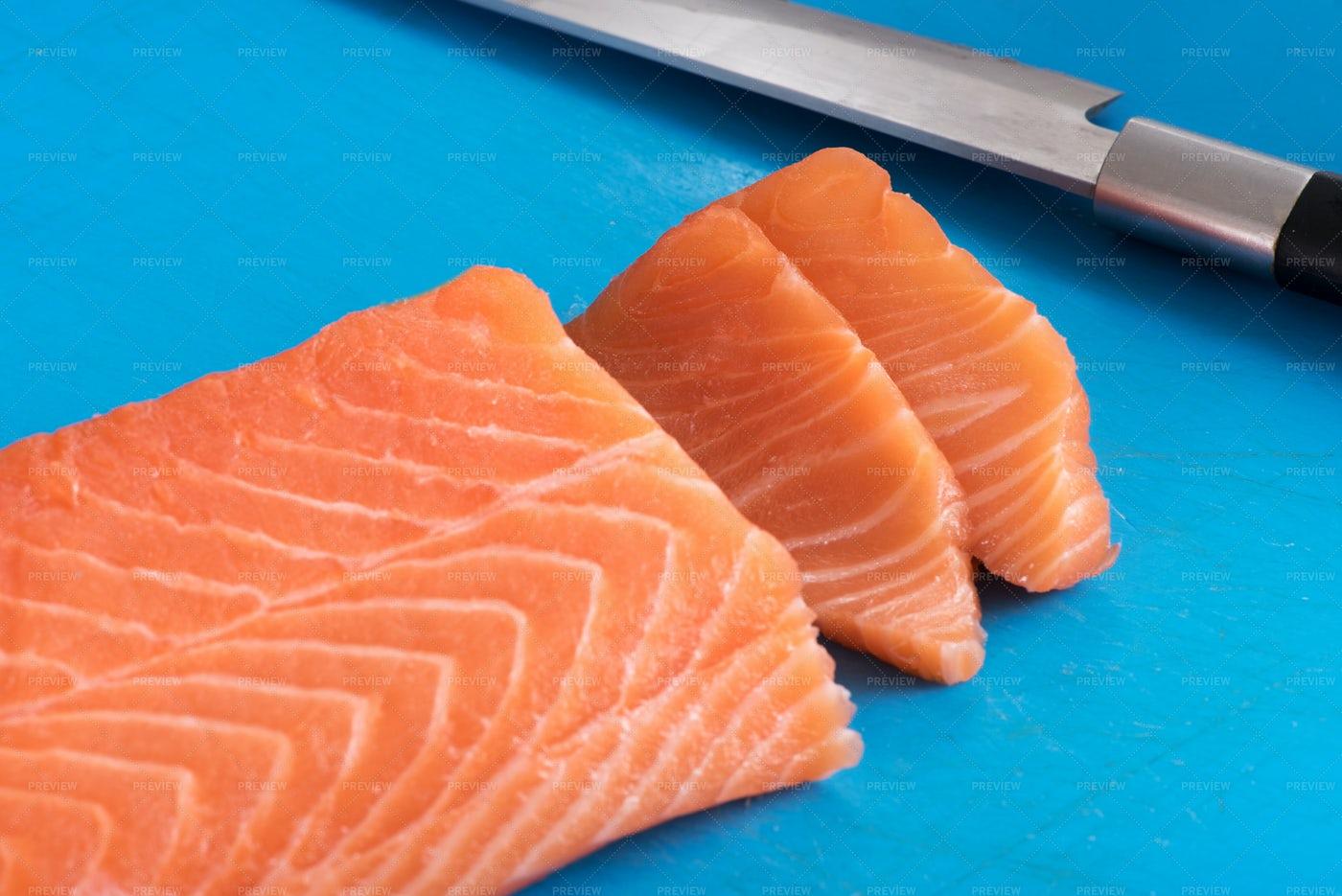 Slicing Salmon Fillet: Stock Photos
