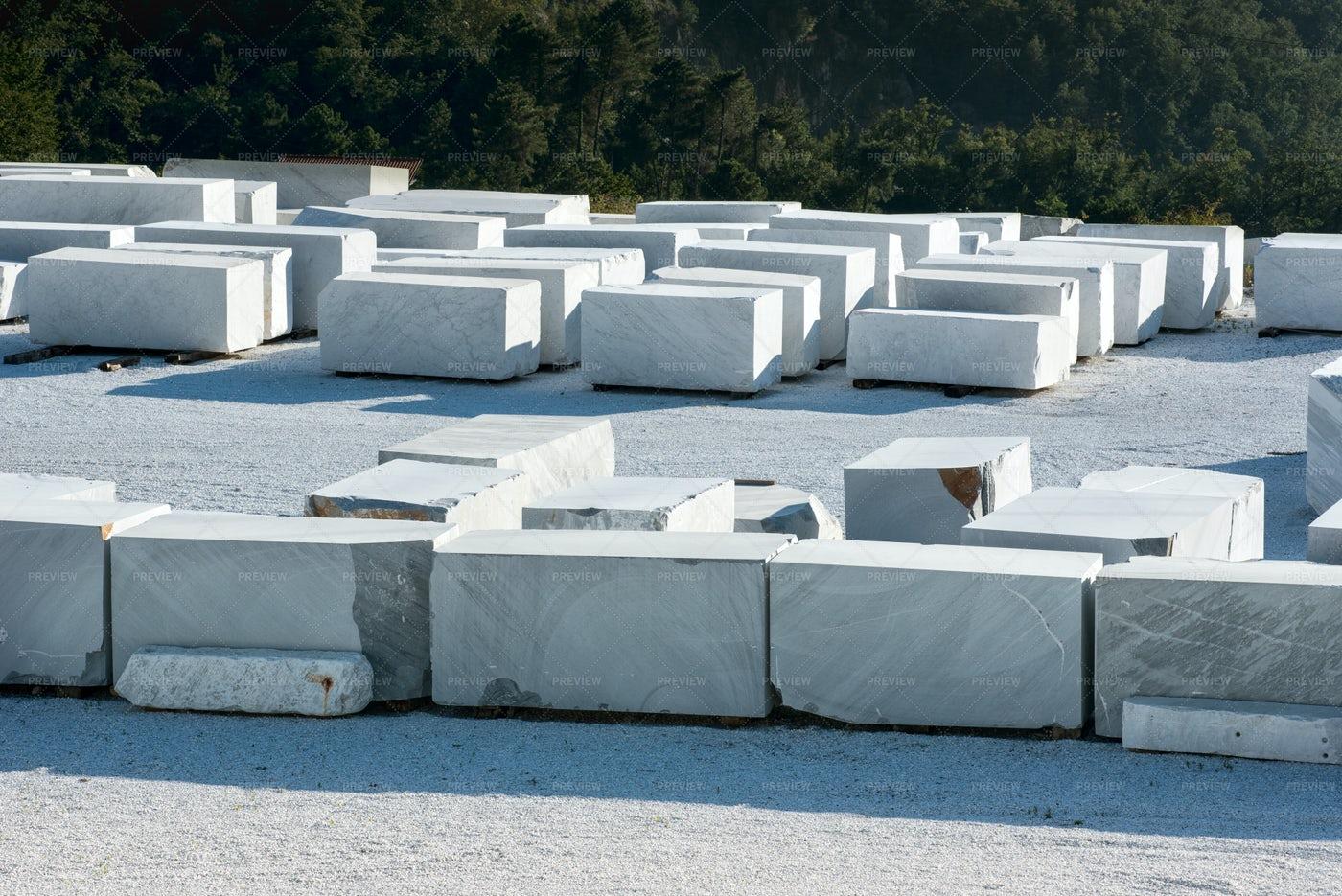 Blocks Of White Carrara: Stock Photos