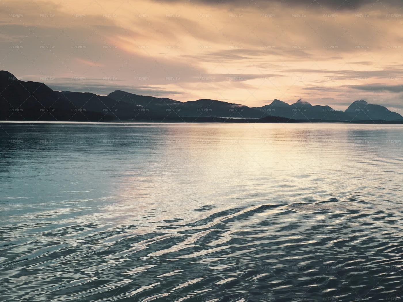 Sunset At Glacier Bay: Stock Photos