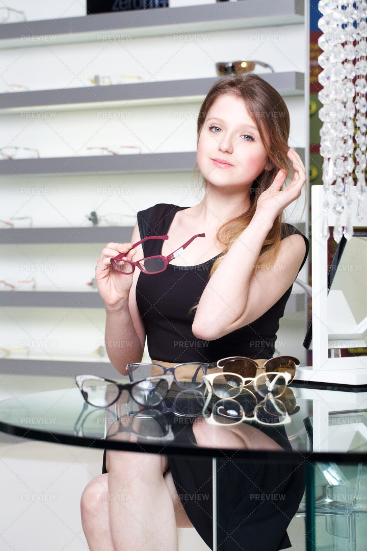 Selecting New Glasses: Stock Photos