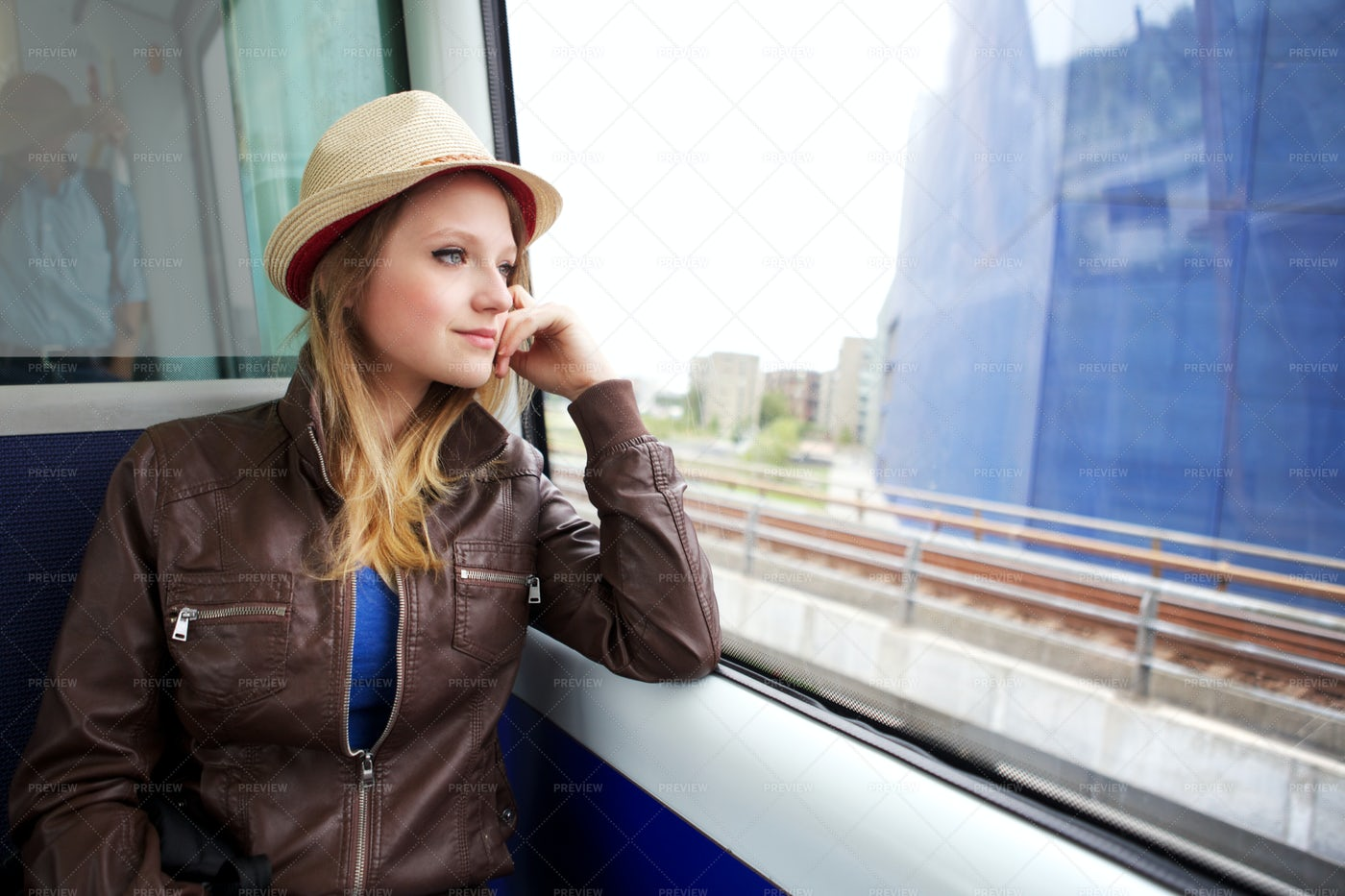 Woman Traveling By Train: Stock Photos