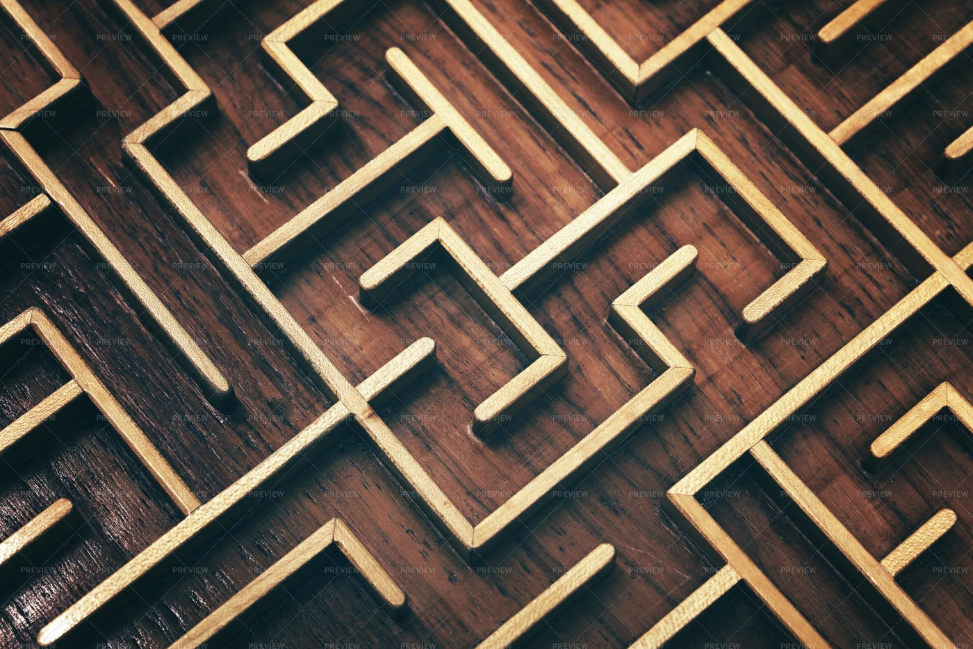 Wooden Labyrinth Puzzle: Stock Photos