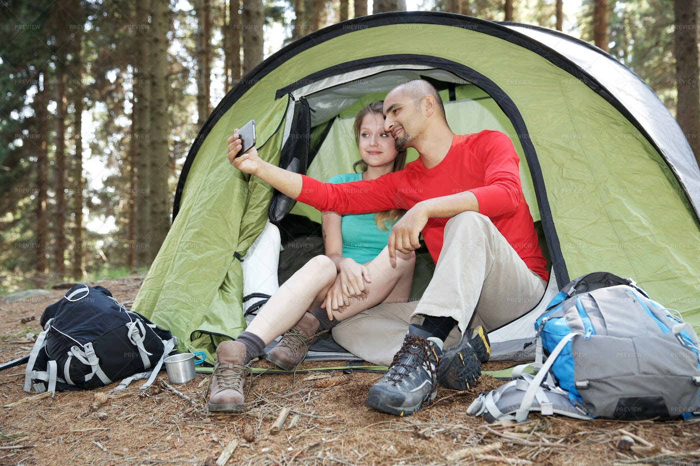 Taking A Camping Selfie: Stock Photos