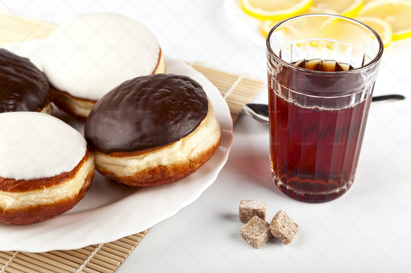 Tea With Donuts: Stock Photos