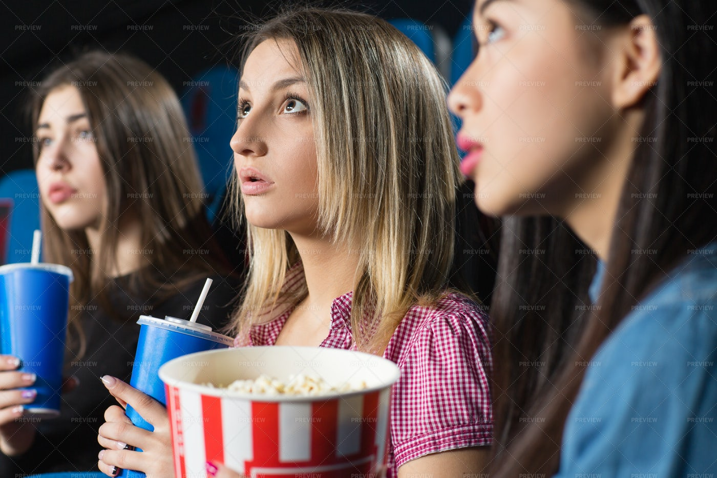 At The Movies Together: Stock Photos