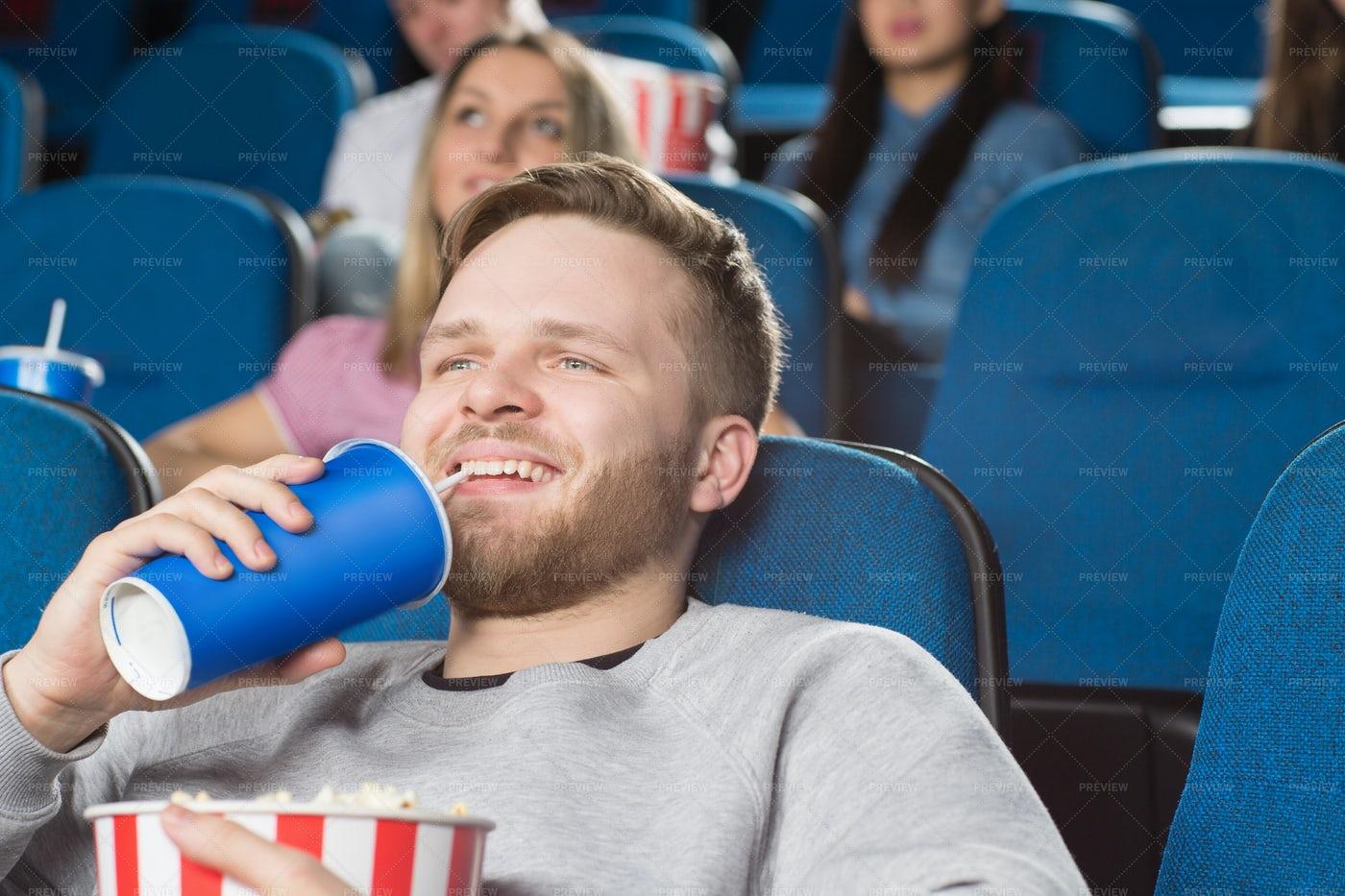 Enjoying A Movie: Stock Photos