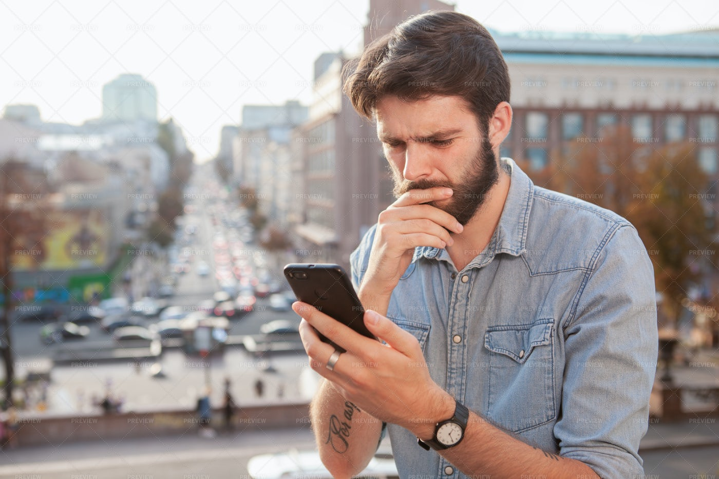 Worried Man In The Streets: Stock Photos