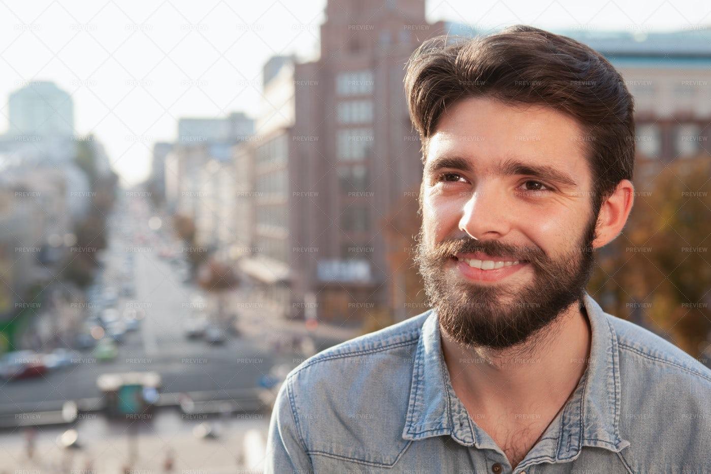 Handsome Bearded Man Enjoying Warm Day A: Stock Photos