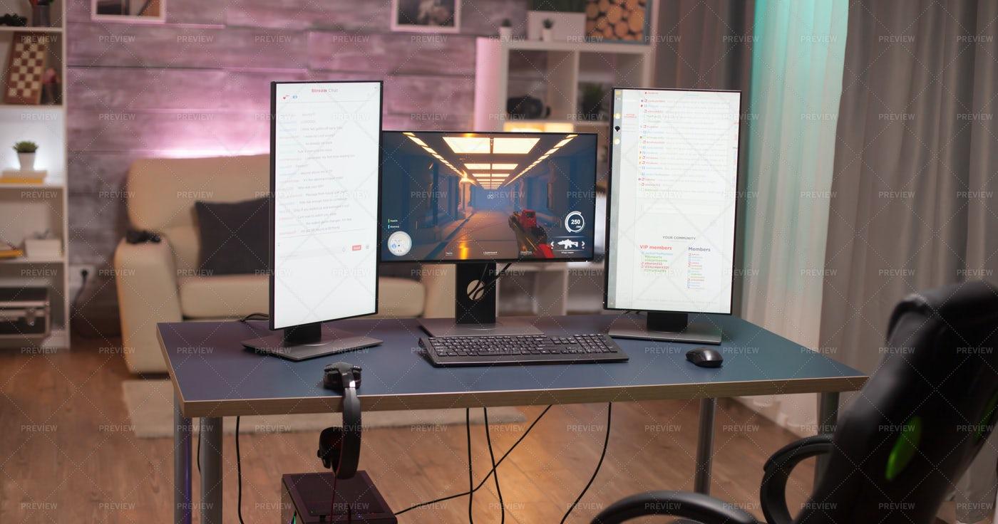 A Streamer Set Up: Stock Photos