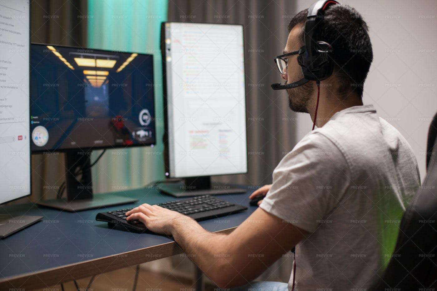 Gamer Streams A Shooter: Stock Photos