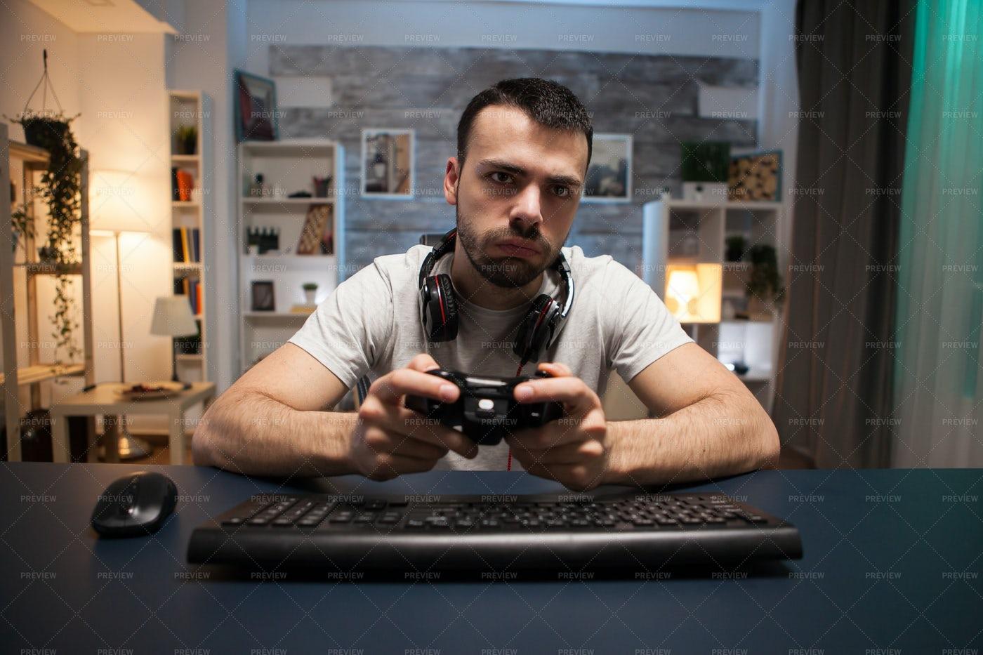 Gamer Playing Online: Stock Photos