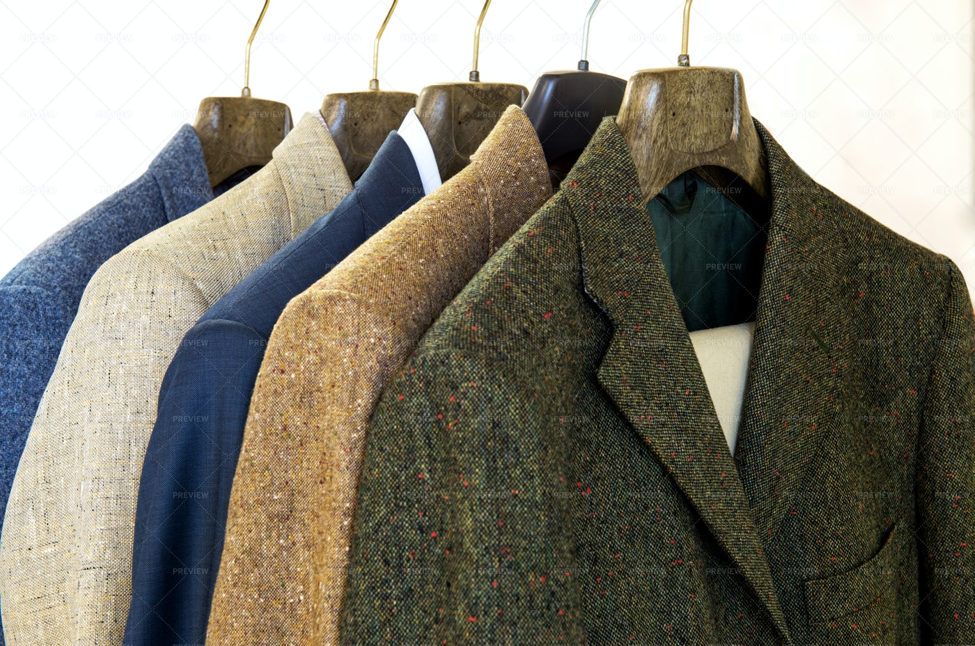 Jackets On Hangers: Stock Photos