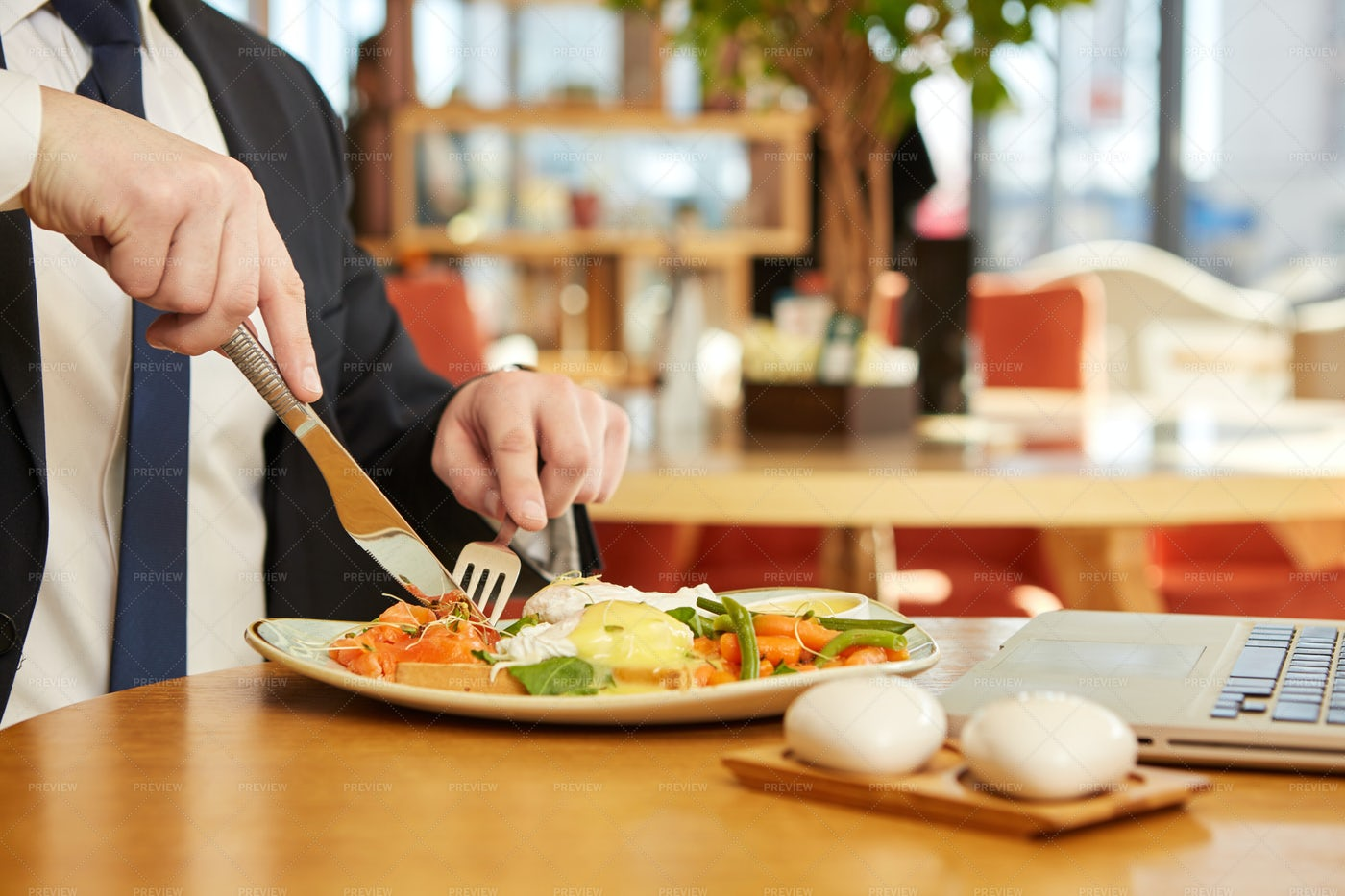 Tucking Into Lunch: Stock Photos