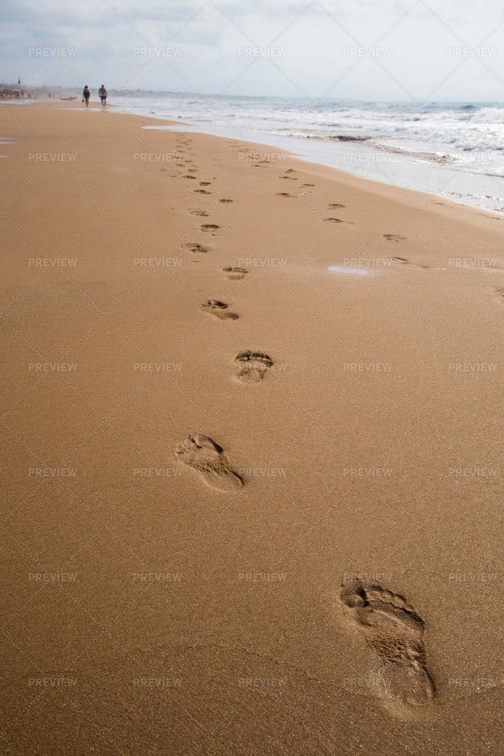 Footprints On A Beach: Stock Photos