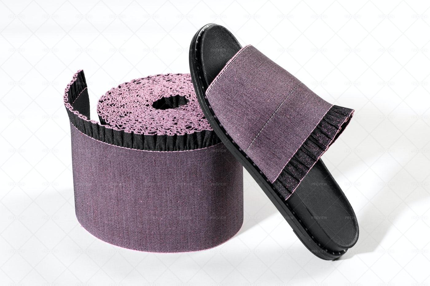 Elastic Ribbon And Sandal: Stock Photos