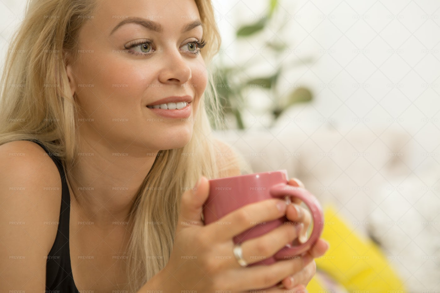 Woman And A Hot Drink: Stock Photos