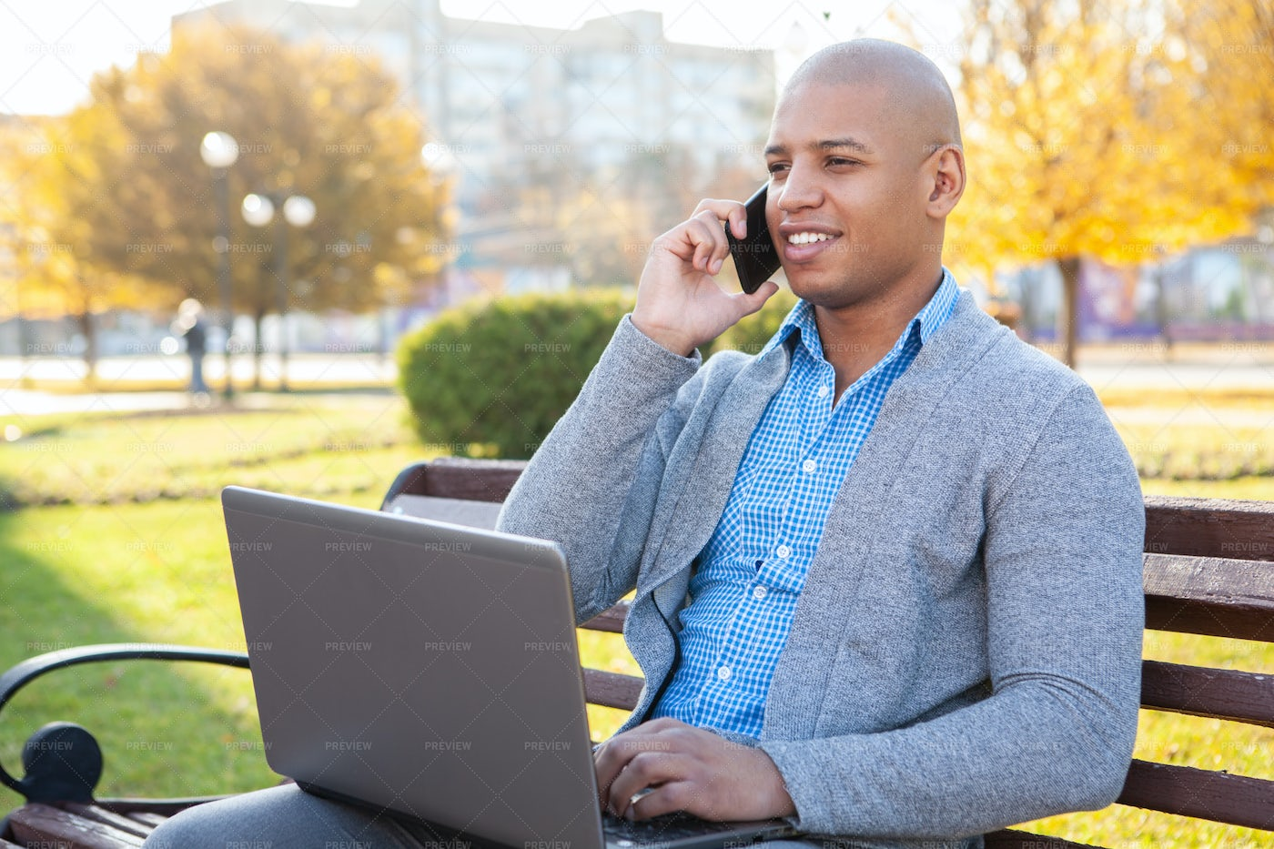 Taking Business Call Outside: Stock Photos