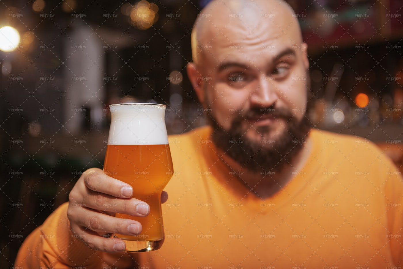 Man With Fresh Beer: Stock Photos